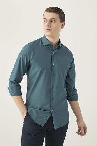 Ds Damat Slim Fit Yeşil Armürlü Gömlek - 8682445181166 | D'S Damat