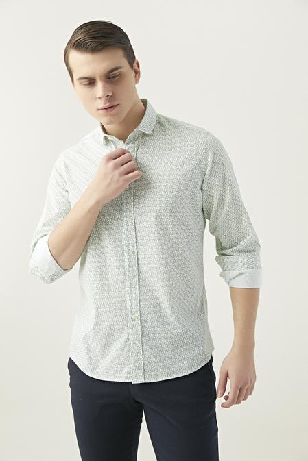 Twn Slim Fit Yeşil Baskılı Gömlek - 8682060349897 | D'S Damat