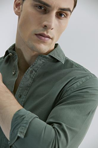 Damat Slim Fit Yeşil Çizgili Gömlek - 8681649993674 | Damat Tween