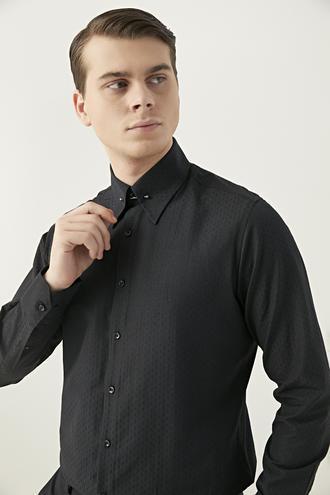Twn Slim Fit Siyah Armürlü Yaka İğneli Gömlek - 8682445093520 | D'S Damat