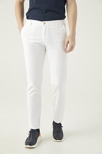 Ds Damat Slim Fit Beyaz Chino Pantolon - 8681494281452   D'S Damat