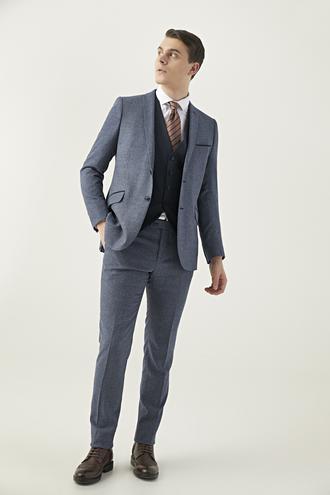 Twn Slim Fit Lacivert Armürlü Kombinli Takım Elbise - 8682060879028 | D'S Damat
