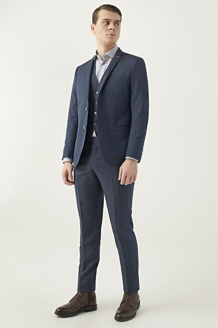 Twn Slim Fit Lacivert Armürlü Yelekli Takım Elbise - 8682060251428 | D'S Damat