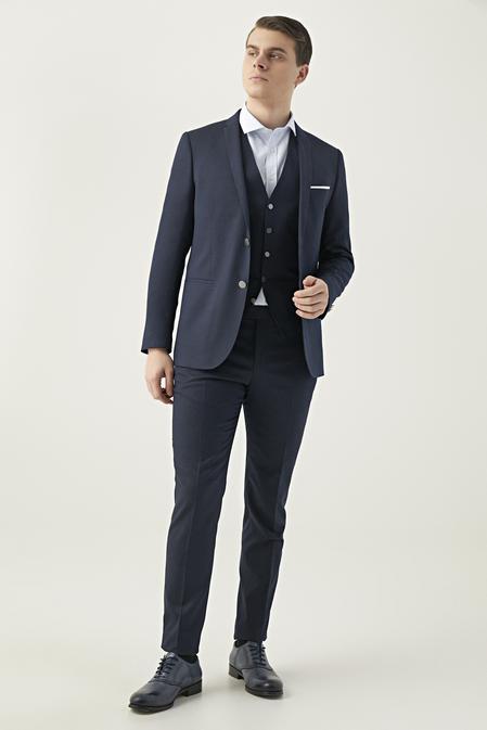Twn Slim Fit Lacivert Armürlü Yelekli Takım Elbise - 8682060251541 | D'S Damat