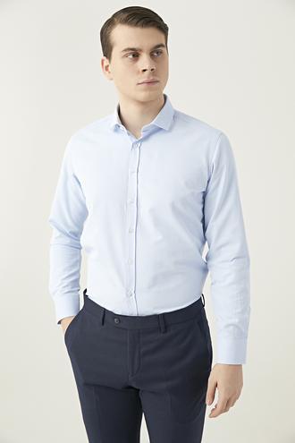 Twn Slim Fit Mavi Düz Gömlek - 8682060087966 | D'S Damat