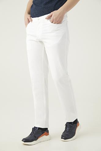 Ds Damat Beyaz Düz Chino Pantolon - 8681779309178 | D'S Damat