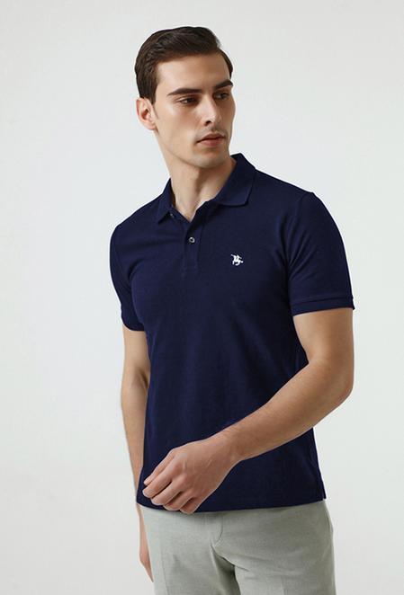 Ds Damat Regular Fit Lacivert Pike Dokulu T-shirt - 8682060907158 | D'S Damat
