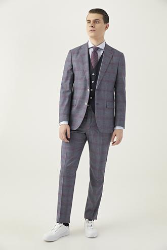 Ds Damat Slim Fit Lacivert Ekoseli Kombinli Takım Elbise - 8682060392237 | D'S Damat