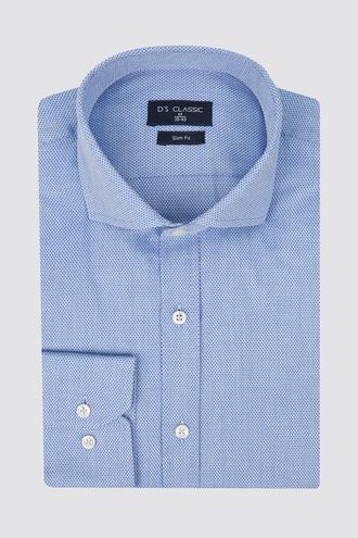 Ds Damat Slim Fit Mavi Armürlü Gömlek - 8681494779560 | D'S Damat