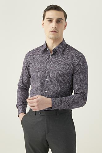 Tween Slim Fit Mor Baskılı Gömlek - 8682364825738 | Damat Tween