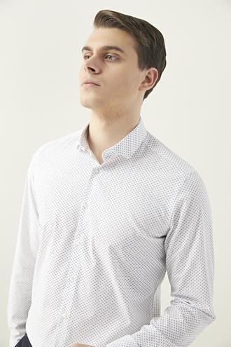 Twn Slim Fit Beyaz Baskılı Gömlek - 8682060164995 | D'S Damat