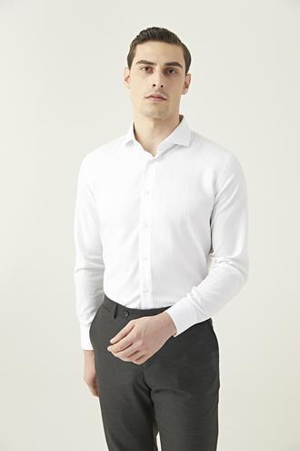Damat Slim Fit Beyaz Çizgili Gömlek - 8681649732310 | Damat Tween