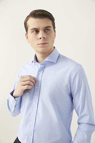 Ds Damat Slim Fit Mavi Armürlü Gömlek - 8681779629993 | D'S Damat