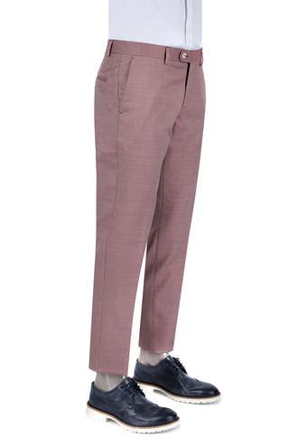 Damat Slim Fit Kırmızı Desenli Kumaş Pantolon - 8681142647234 | D'S Damat