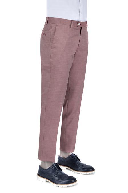 Damat Slim Fit Kırmızı Desenli Kumaş Pantolon - 8681142647234   D'S Damat