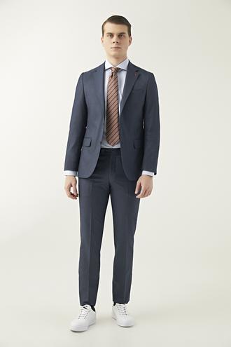 Ds Damat Slim Fit Lacivert Desenli Takım Elbise - 8681779596486 | D'S Damat