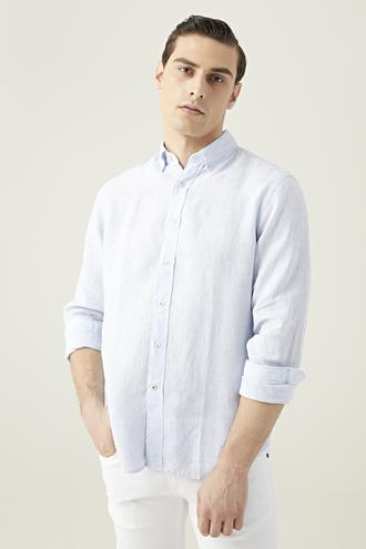 Damat Comfort Mavi Çizgili Keten Gömlek - 8681649621256 | Damat Tween