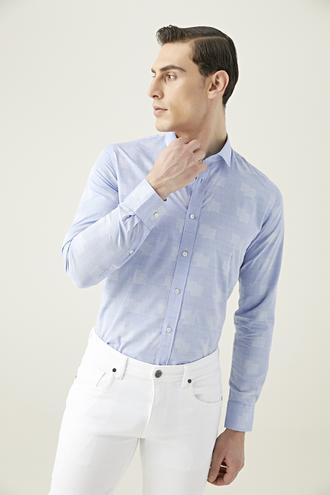Tween Slim Fit Mavi Desenli Gömlek - 8682364622344 | Damat Tween