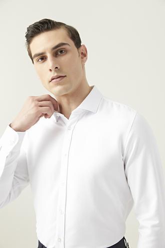 Tween Slim Fit Beyaz Armürlü Gömlek - 8682364524075 | Damat Tween