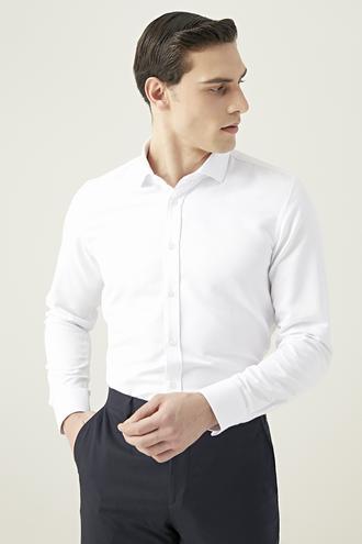 Tween Slim Fit Beyaz Armürlü Gömlek - 8682364660421 | Damat Tween