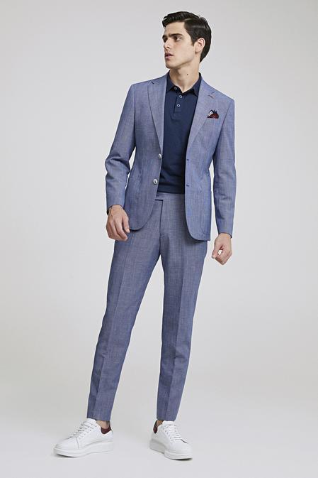 Ds Damat Slim Fit Lacivert Desenli Takım Elbise - 8681778939833 | D'S Damat