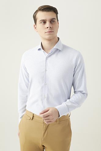 Ds Damat Slim Fit Beyaz Desenli Gömlek - 8682445083651   D'S Damat