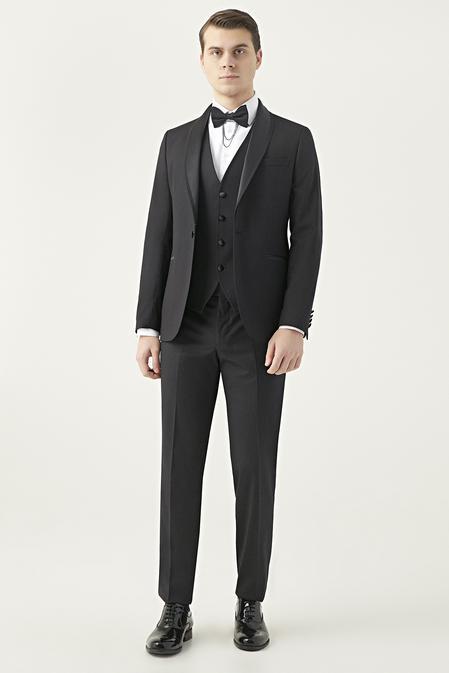 Twn Slim Fit Siyah Smokin Yelekli Takım Elbise - 8682445070811 | D'S Damat
