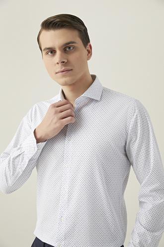 Ds Damat Slim Fit Beyaz Baskılı Gömlek - 8681779453000   D'S Damat