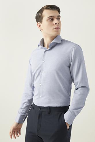 Ds Damat Slim Fit Lacivert Desenli Gömlek - 8682445083491   D'S Damat