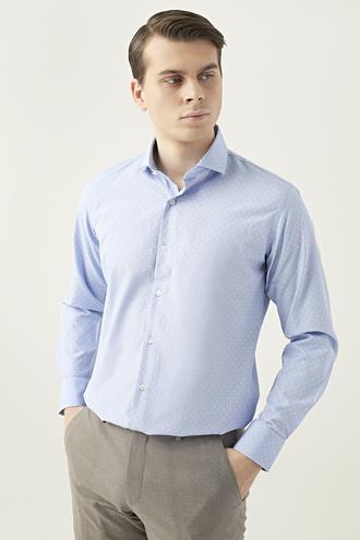 Ds Damat Slim Fit Mavi Armürlü Gömlek - 8682445169416 | D'S Damat
