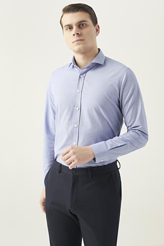 Twn Slim Fit Mavi Desenli Gömlek - 8682445082173   D'S Damat