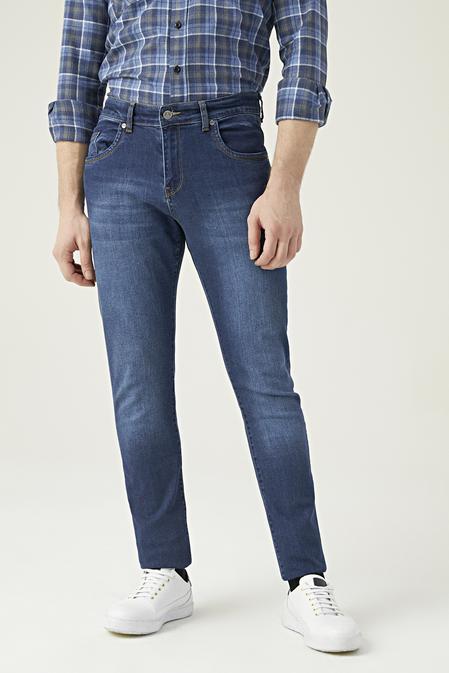 Ds Damat Slim Fit Mavi Düz Denim Pantolon - 8682445185423   D'S Damat