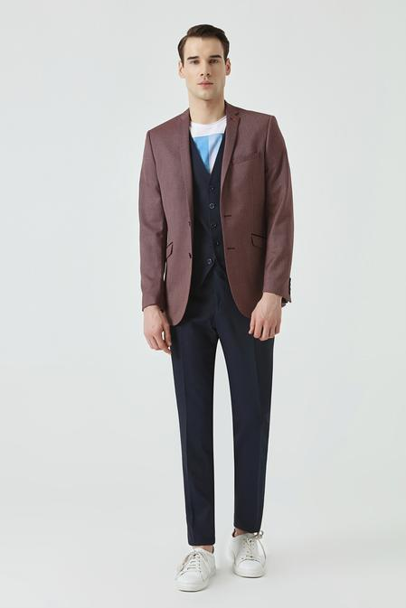 Twn Slim Fit Bordo Armürlü Kombinli Takım Elbise - 8682060141200 | D'S Damat