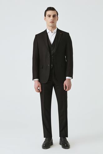 Ds Damat Slim Fit Siyah Düz Yelekli Takım Elbise - 8682445178838 | D'S Damat
