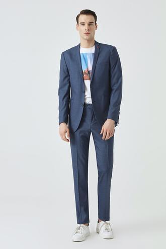 Twn Slim Fit Lacivert Armürlü Takım Elbise - 8682060792761 | D'S Damat