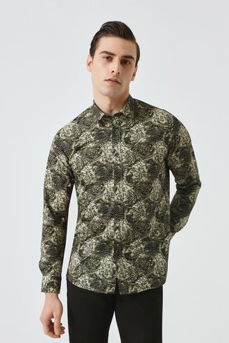 Tween Slim Fit Yeşil Baskılı Gömlek - 8682364576104   Damat Tween