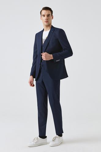 Tween Slim Fit Lacivert Yelekli Takım Elbise - 8681649441991   Damat Tween