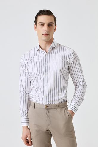 Damat Slim Fit Beyaz Çizgili Gömlek - 8682364571192   Damat Tween
