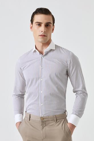 Damat Slim Fit Beyaz Çizgili Gömlek - 8682364616886   Damat Tween
