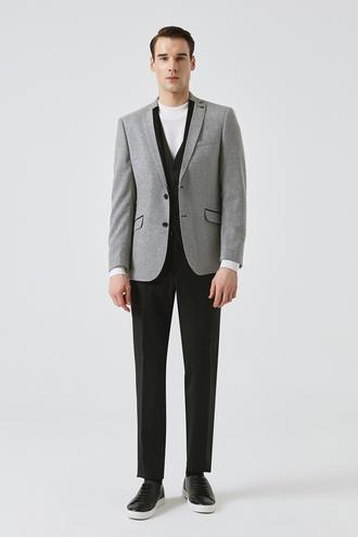 Tween Slim Fit Gri Desenli Yelekli Takım Elbise - 8681649664420 | D'S Damat