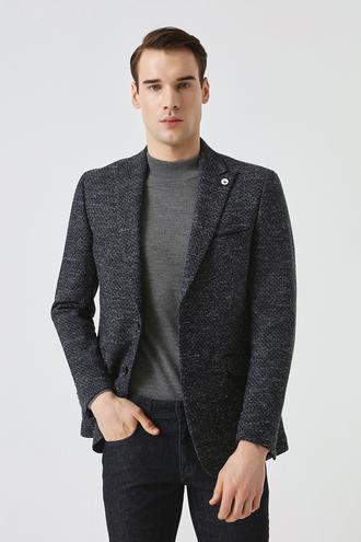 Tween Slim Fit Lacivert Desenli Kumaş Ceket - 8681649249986 | Damat Tween