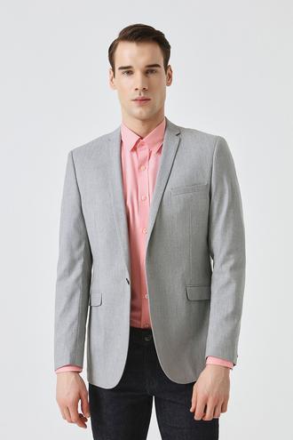 Tween Slim Fit Gri Düz Kumaş Ceket - 8681649696957 | D'S Damat