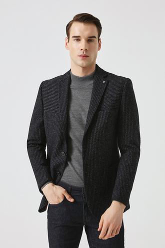 Tween Slim Fit Lacivert Desenli Kumaş Ceket - 8681649250142 | Damat Tween