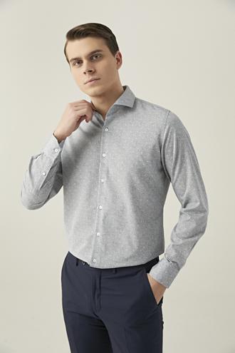 Ds Damat Slim Fit Gri Baskılı Gömlek - 8682445199352 | D'S Damat
