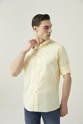 Damat Slim Fit Sarı Düz Yaka İğneli Gömlek - 8682364482870 | Damat Tween