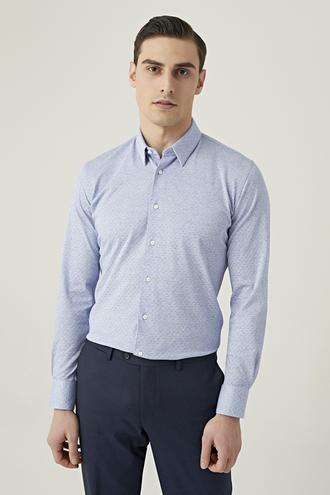 Damat Slim Fit Mavi Desenli Gömlek - 8682364489121 | Damat Tween
