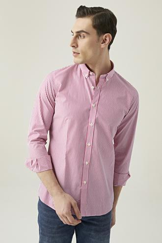 Tween Slim Fit Kırmızı Çizgili Gömlek - 8682364493616 | Damat Tween