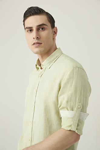 Tween Slim Fit Yeşil Düz Gömlek - 8682364493807 | Damat Tween