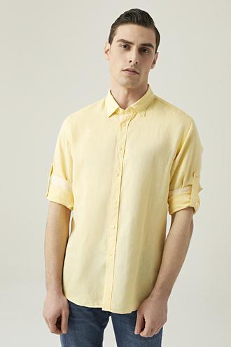 Tween Slim Fit Sarı Düz Gömlek - 8682364493876 | Damat Tween