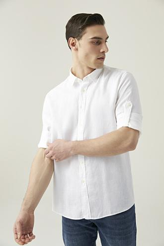 Tween Slim Fit Beyaz Düz Gömlek - 8682364493968 | Damat Tween